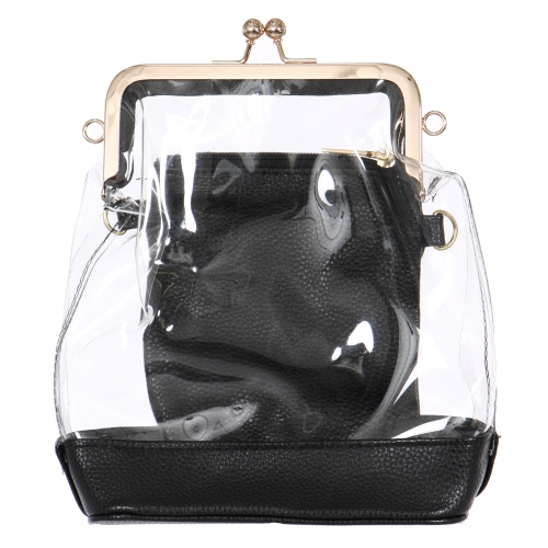 Wholesalse S10B Clear handbag with mini bag Black