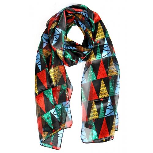 Wholesale WA00 Christmas tree satin stripe scarf BK