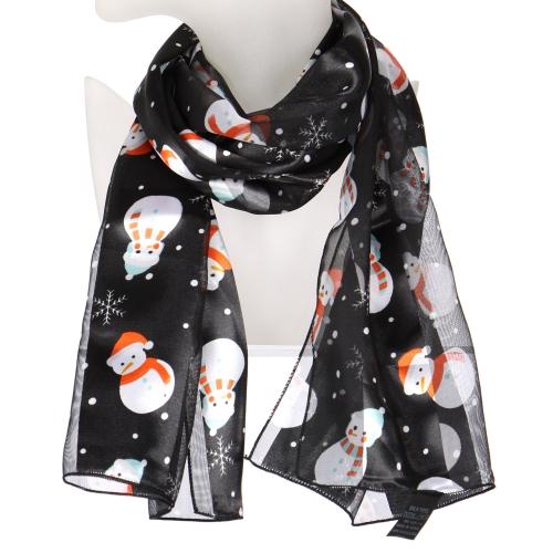Wholesale WA00 Satin stripe scarf SNOWMAN & SNOWFLAKE