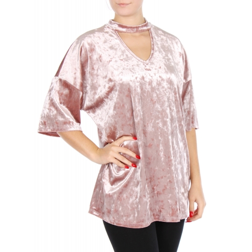 Wholesale N00A Crushed velvet cutout top Mauve