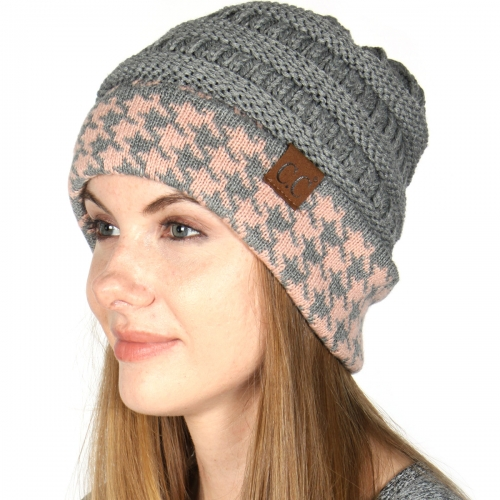 Wholesale Q06S C.C Knit beanie with houndstooth cuff Ivory/Beige