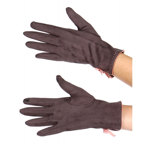 Wholesale T10 Faux suede bow touch screen gloves BK