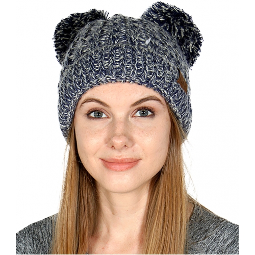 Wholesale C00-1 C.C Two pom pom knit beanie Taupe
