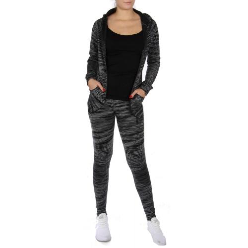 Wholesale U06A Stripe legging and jacket activewear set Black
