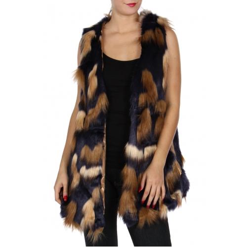 Wholesale Y24C Faux fur vest with clasps Multi 17