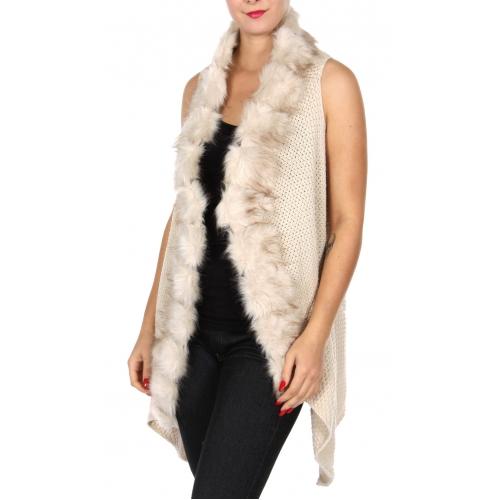 Wholesale Y24A Faux fur trim woven vest GRY