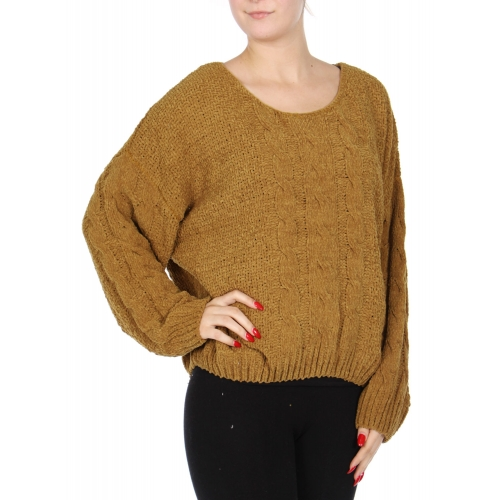 Wholesale R71S Cable knit loose sweater L.Taupe