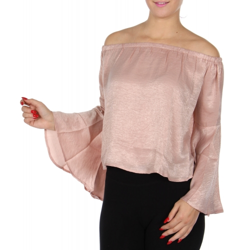 Wholesale N33E Bell sleeve off the shoulder top Blush
