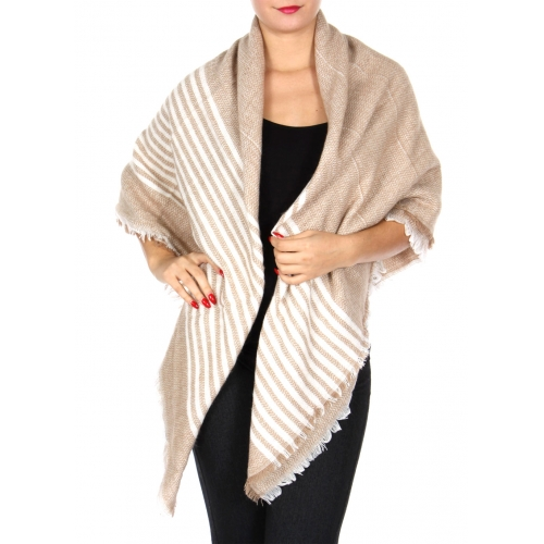 Wholesale Y20A Thin stripe blanket scarf BLK