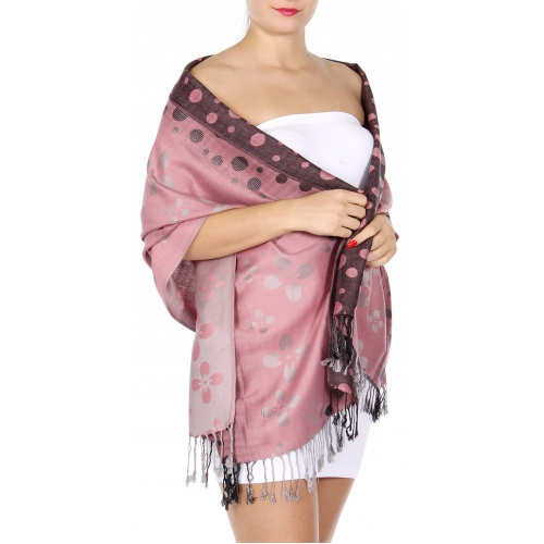 Wholesale D14A Flower and circle pattern pashmina Pink