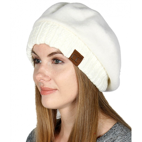 Wholesale Y22E C.C Cabled knit cuff beret hat Ivory
