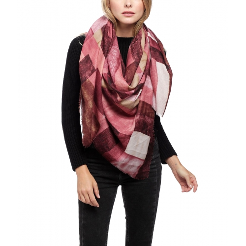 Wholesale Y28D Frayed square print scarf