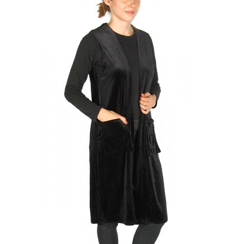 Wholesale Y28E Solid long velvet vest