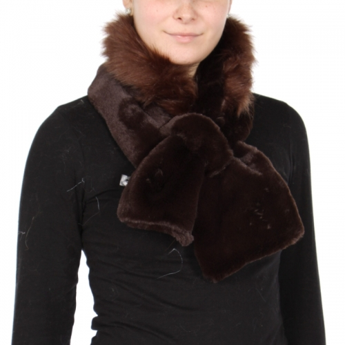 Wholesale Y32E Faux fur fuzzy collar scarf with slit BLK