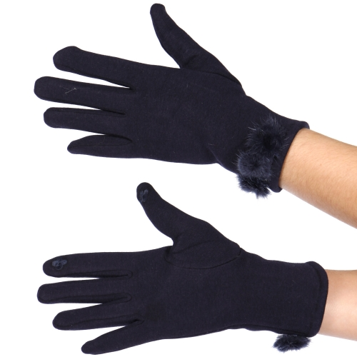 Wholesale Y32A Cotton blend pom pom cuff touch screen gloves