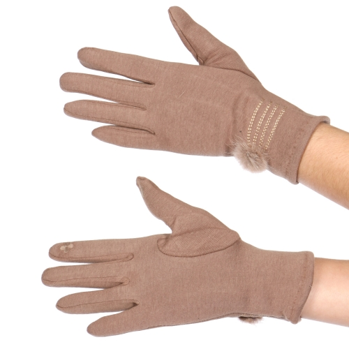 Wholesale Y32A Cotton blend pom pom touch screen gloves