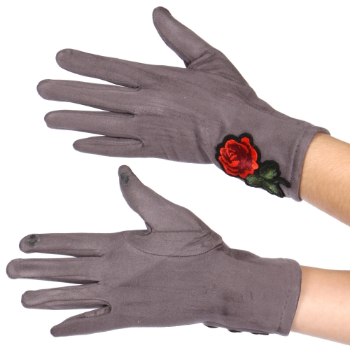 Wholesale Y32B Faux suede embroidered rose touch screen gloves