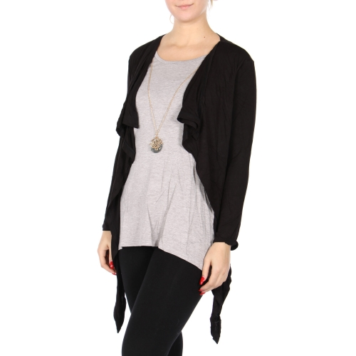 Wholesale Y08D Built-in cardigan top Black/Grey