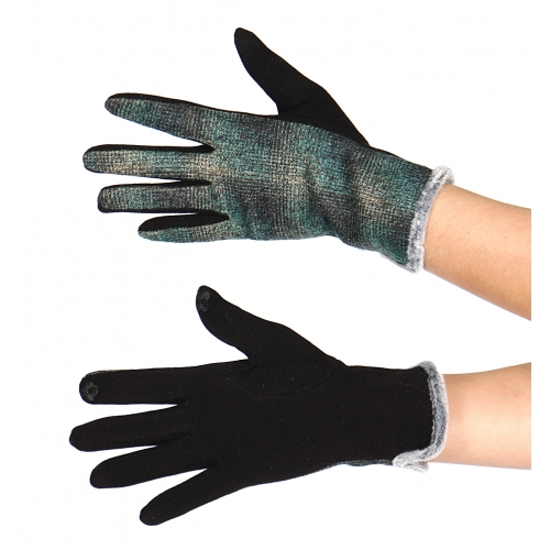 Wholesale Y32C Cotton blend faux fur cuff touch screen gloves