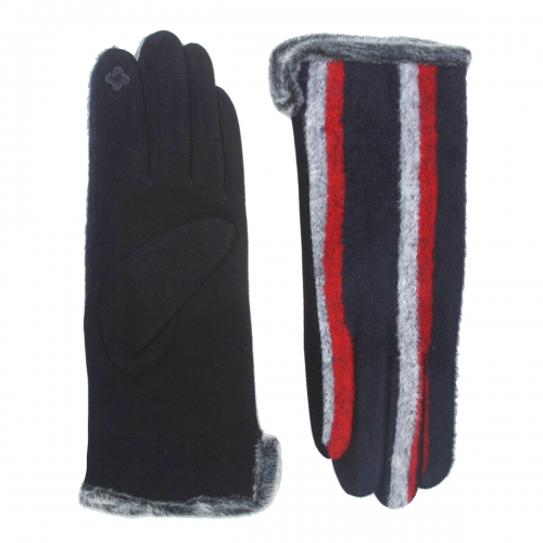 Wholesale Y32C Cotton blend striped faux fur cuff touch screen gloves