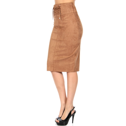 Wholesale R19S Faux suede lace-up detail skirt Camel