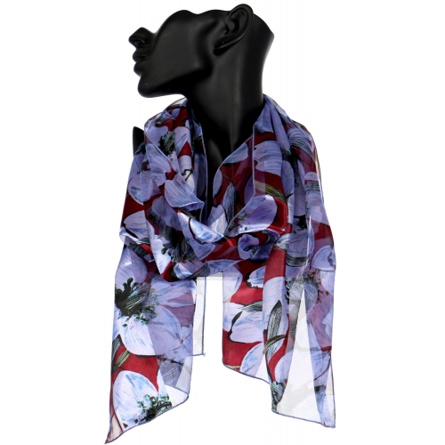 Wholesale N50B Floral satin stripe scarf SM