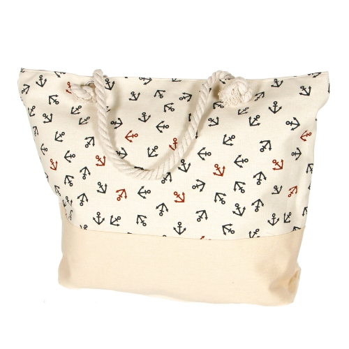 Wholesale S86A Extra large canvas beach bag Two Anchor BEG