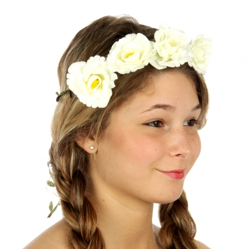 wholesale N34 Flower accent wreath headband Ivory