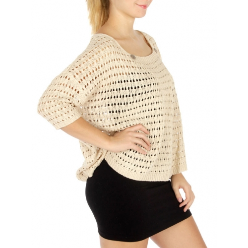 Wholesale T71 Open knit sweater Taupe fashionunic