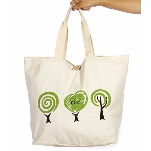 Wholesale V83 Tree print cotton tote bag Green-XL