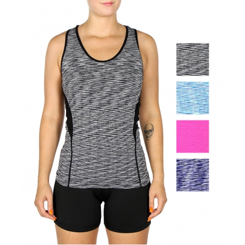 Wholesale M33C Static print active tank top Black