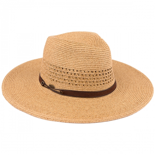 Wholesale W64-1 Simple band panama hat BLK/BLK