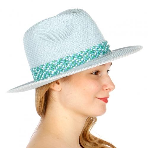 wholesale W23 Banded paper panama hat Blue fashionunic