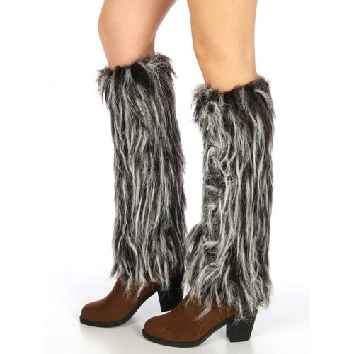 wholesale L26 Long rurry faux fur boot covers Black