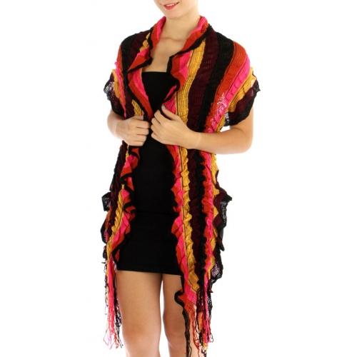 wholesale E15 Multi color stripe knit scarf FS