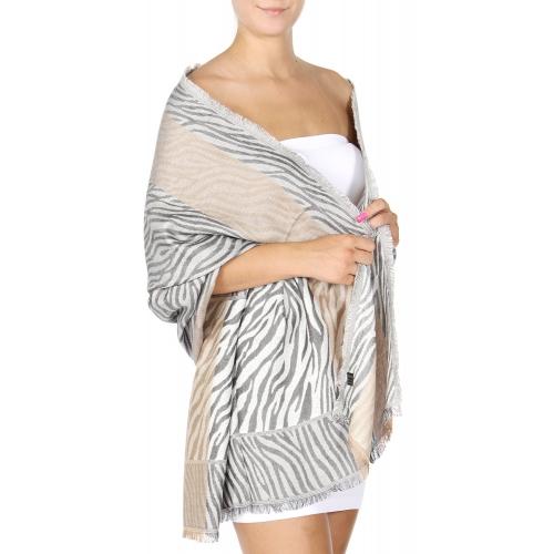 wholesale D27 Section Zebra Jacquard Shawl 01