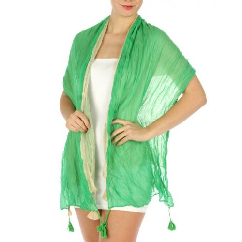 wholesale C00 Tasseled wrinkle 2 layer shawl Green