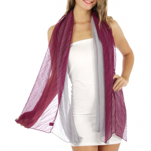 wholesale C02 2 Tone pleated chiffon Scarf PP/GY