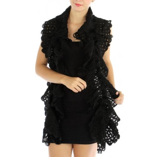wholesale S06 Wave Knit feather scarf BK fashionunic