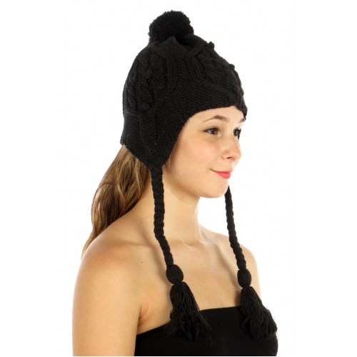 wholesale E10 Pattern cable knit Hat Black fashionunic