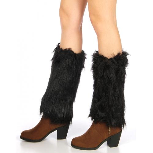wholesale L28 Furry short faux fur boot covers Black