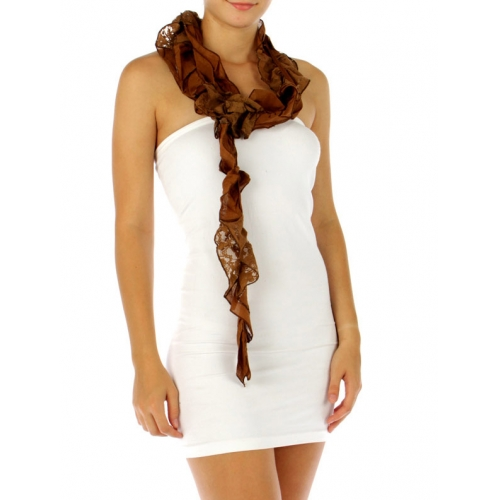 wholesale F00 Fabric&Lace scarf Brown fashionunic