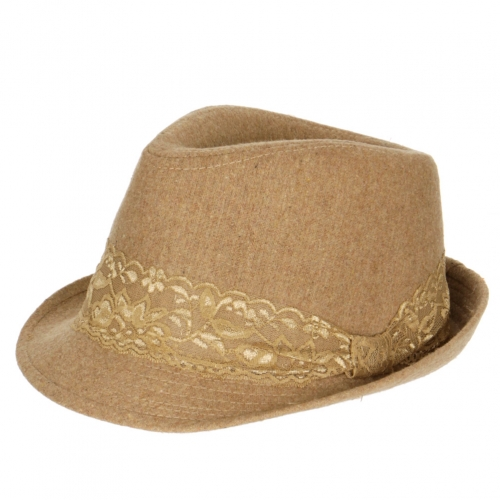 wholesale W11 Lace band Wool Fedora Camel fashionunic