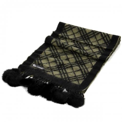 wholesale P24 Fur ball Scarf Line Checker OV fashionunic