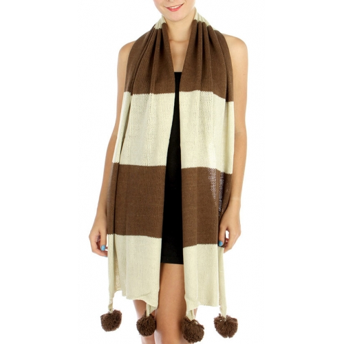 wholesale Q13 Wide polo knit pompom scarf BR fashionunic