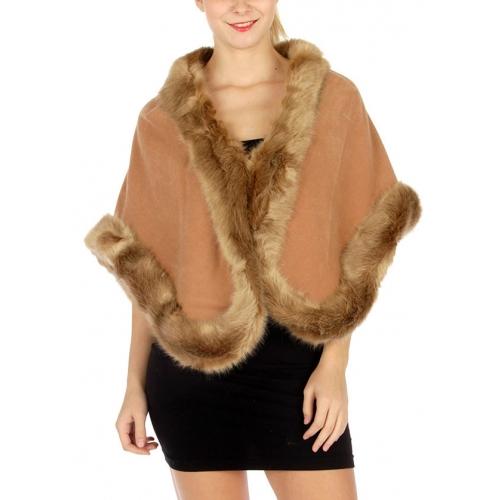 wholesale S00 faux fur trim solid wrap CM fashionunic