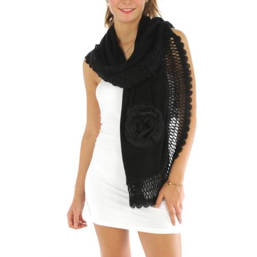 wholesale E09 Lace corsage woven Shawl Black fashionunic
