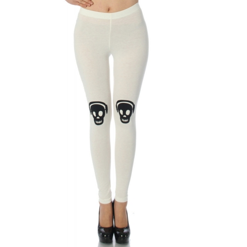 wholesale L43 Skull headphone cotton leggings White