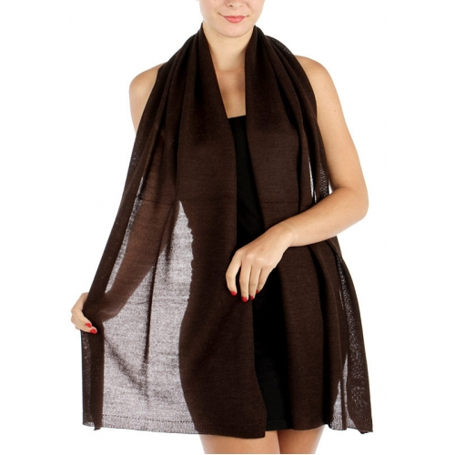 wholesale E13 Oblong Knit Wool Solid Scarf D BR