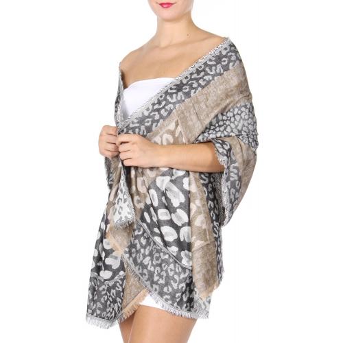 wholesale D27 Section Leopard Jacquard Shawl 01
